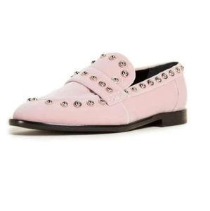 CARVEN Odeon Loafers leather pink velvet metal